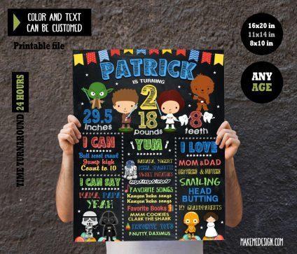 Star Wars Baby Chalkboard Sign Birthday, Birthday Sign, Star Wars Baby Chalk Board Poster, Birthday Chalkboard Sign Poster, Star Wars Baby Birthday Chalkboard