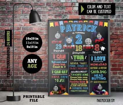 Thomas And Friends Chalkboard Sign Birthday, Birthday Poster, Thomas And Friends Milestone Sign, Birthday Sign, Thomas And Friends Chalk Board