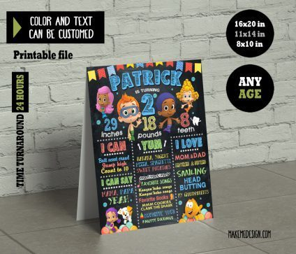 Bubble Guppies Chalkboard Sign Birthday, Milestone Sign, Bubble Guppies Party Sign, Chalkboard Milestone Poster, Bubble Guppies Birthday Banner