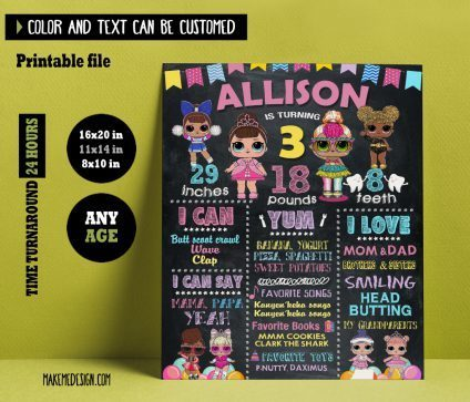 Lol Surprise Dolls Chalkboard Sign Birthday, Birthday Custom Chalkboard Poster Sign, Lol Surprise Dolls Printable Birthday Milestone Chalkboard, Party Sign, Lol Surprise Dolls Chalkboard Sign Printable