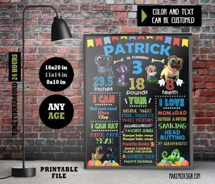 Puppy Dog Pals Chalkboard Sign Birthday, Birthday Decor, Puppy Dog Pals Birthday Banner, Stats Board, Puppy Dog Pals Birthday Sign