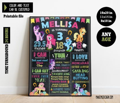 My Little Pony Chalkboard Sign Birthday, Birthday Sign, My Little Pony Chalkboard Milestone Poster, Chalk Board, My Little Pony Chalk Board Poster