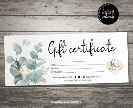 Modern Eucalyptus Gift Certificate, Instant Download, Gift Card Printable, Gift Voucher Template, Modern Gift Certificate Templates