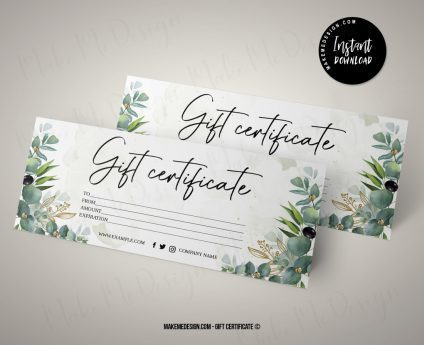 Modern Greenery Gift Certificate, Printable Gift Card, Editable Gift Certificate, Instant Download, Modern Gift Certificate Templates