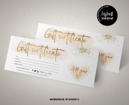 Pink Gold Gift Certificate, Gift Certificate Printable, Printable Gift Card, Gift Card Printable, Modern Gift Certificate Templates