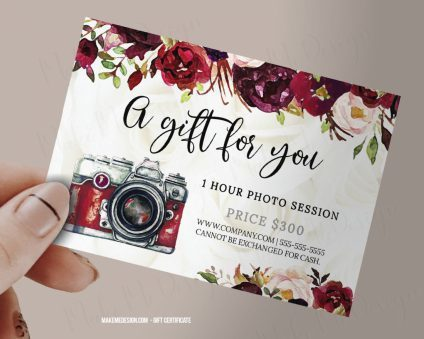 Burgundy Floral Gift Certificate Photography, Photo Session Voucher Printable Template, Gift Certificate Template, Gift Certificate Printable, Photographer Gift Certificates Template