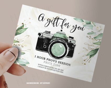 Greenery Gift Certificate Photography, Photography Gift Certificate Template, Photo Session Voucher Card, Photo Gift Cards, Gift Certificate Printable
