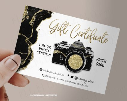 Black Luxuary Gold Gift Certificate Photography, Photography Voucher, Instant Download, Gift Certificate Printable, Photographer Gift Card Template