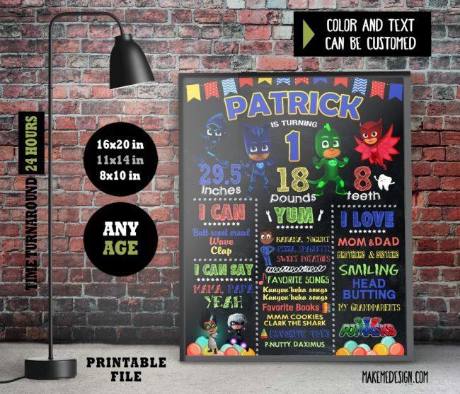 Pj Masks Chalkboard Sign Birthday, Birthday Chalkboard Sign, Pj Masks Chalkboard Sign First Birthday, Birthday Chalkboard, Pj Masks Any Age