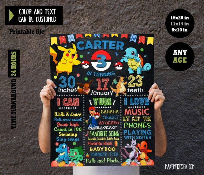 Pokemon Chalkboard Sign Birthday, Stats Board, Pokemon Instant Download, Milestone Sign, Pokemon Birthday Poster
