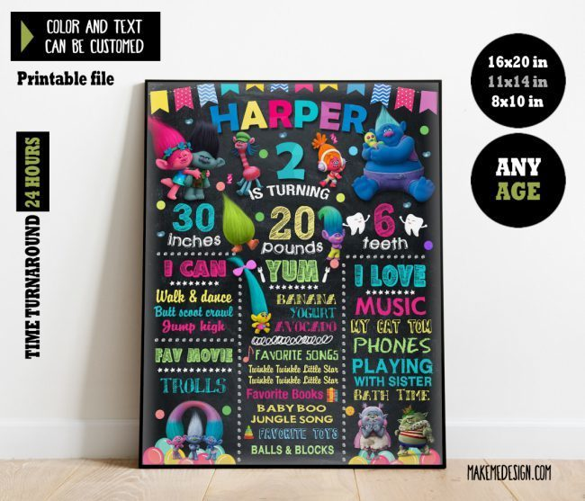 Trolls Chalkboard Sign Birthday, Banner Milestone, Trolls Birthday Banner, Chalkboard Sign First Birthday, Trolls Birthday Poster