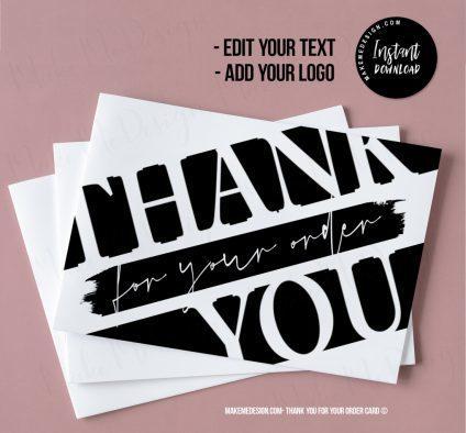 Modern Black Thank You For Your Order, Printable Insert Card Template, Modern Packaging Insert Card, Ready To Print Thank You Card, Thank You Package Insert
