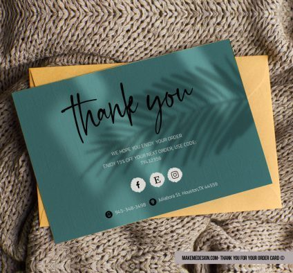 Green Minimalist Thank You For Your Order, Modern Packaging Insert Card, Thank You Card, Editable Card Template, Business Thank You Card Template