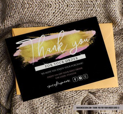 Black Gold Thank You For Your Order, Editable Card Template, Ready To Print Thank You Card, Thank You Card, Thank You Package Insert