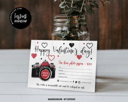 Valentines Day Gift Certificate, Photography Valentines Day Voucher, Gift Certificate Template, Photographer Gift Card Template, Photo Session Valentines Day Voucher Card