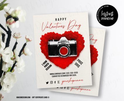 Red Heart Valentines Day Gift Certificate, Photography Gift Card Template, Photography Valentines Day Voucher, Gift Certificate Template, Photo Gift Cards Valentines