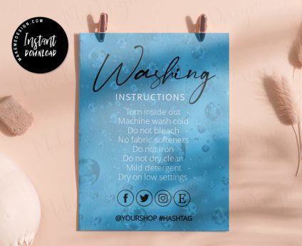 Modern Blue Washing Instructions, Modern Washing Instructions, Editable Instructions, Printable Modern Washing Instructions, T-Shirt Washing Instructions