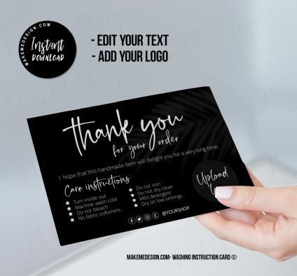 Modern Black Washing Instructions, T-Shirt Washing Instructions, Washing Instructions Template, Editable Instructions, Washing Instructions Card Template