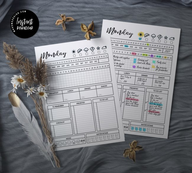 Daily Planner, Printable 7 Day Planner, Day Planner, Work Planner, Printable PDF, Instant Download