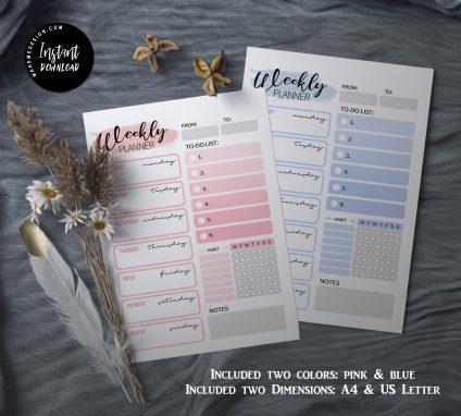 Weekly Planner Printable, Weekly Agenda, Instant download, Printable Minimalist, Weekly Schedule
