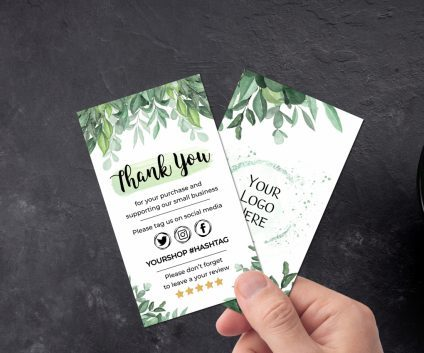 Greenery Business Thank You Card, Printable Insert Card Template, Greenery Modern Packaging Insert Card, Thank You Card, Greenery Editable Card Template