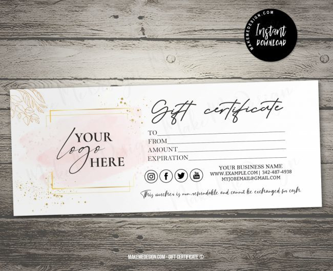 Minimalist Gift Certificate, Gift Certificate Template Printable Editable, Minimalist Instant Download, Modern Gift Certificate Templates, Minimalist Gift Voucher Template