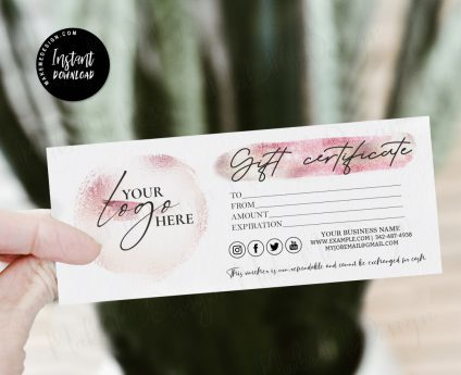 Pink Gloss Gift Certificate, Editable Gift Card, Pink Gloss Modern Gift Certificate Templates, Printable Gift Certificate, Pink Gloss Gift Card Printable