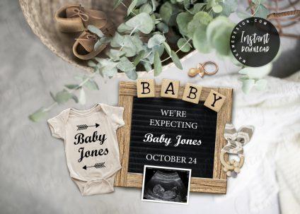 Eucalyptus Pregnancy Announcement, Announcing Pregnancy, Eucalyptus Editable Social Media Pregnancy Announcement, Pregnancy Reveal, Eucalyptus Social Media
