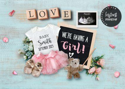 For Girl Pregnancy Announcement, Social Media Post Baby Announcement, For Girl Announcing Pregnancy, Social Media Pregnancy Announce, For Girl Editable baby Announcement Digital for Social Media