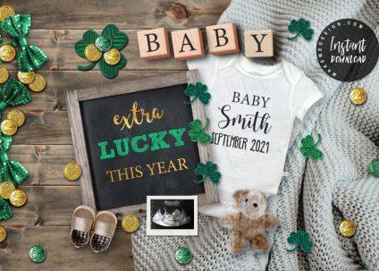 St. Patrick's Day Pregnancy Announcement, YOU EDIT, St. Patrick's Day Facebook Instagram, Editable Baby Announcement, St. Patrick's Day Announcing Pregnancy