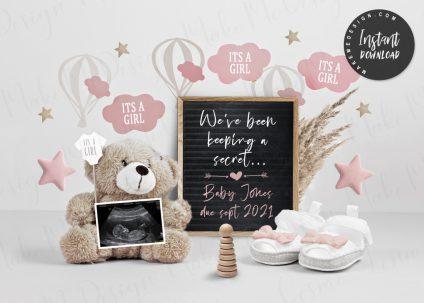 For Girl Pregnancy Announcement, Pregnancy Announcement Digital, For Girl Editable Baby Announcement, Editable baby Announcement Digital for Social Media, For Girl Social Media Pregnancy Announce