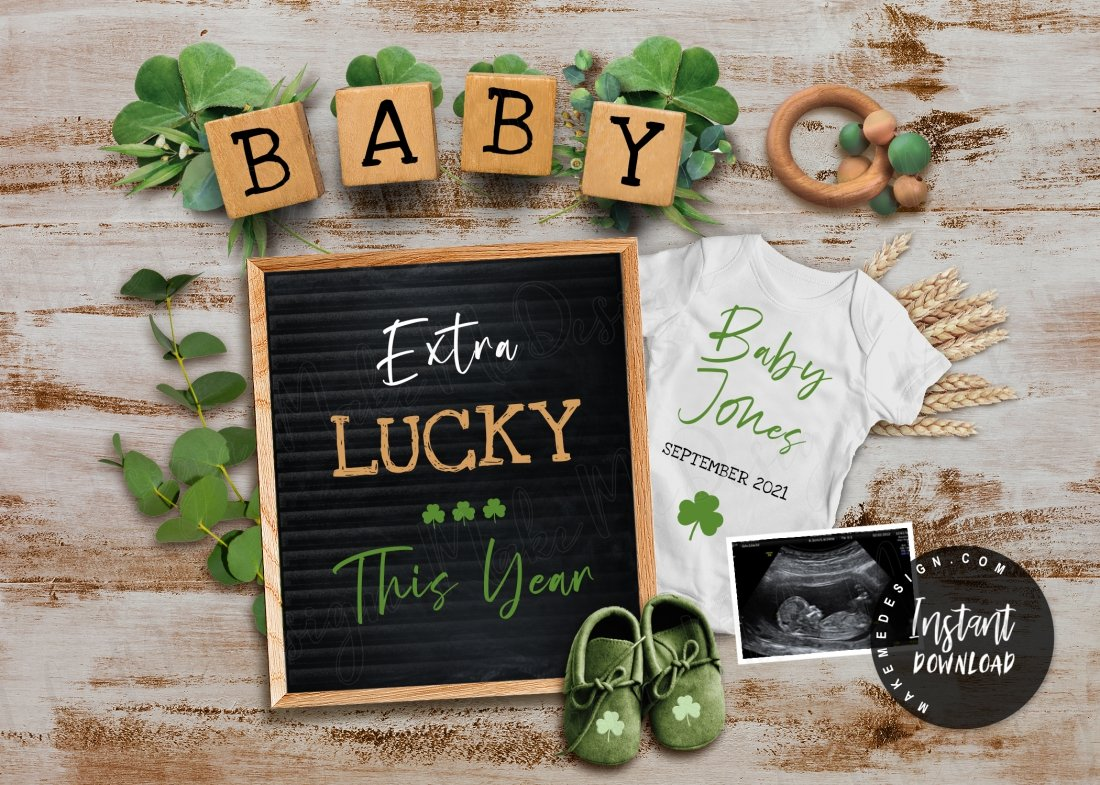 Patrick/'s Day Green 4 Leaf Clover Baby Custom Hand-Lettered Digital Download Cute Photo Prop Lucky Us PregnancyAdoption Announcement St