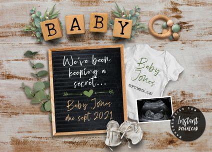 Greenery Pregnancy Announcement, YOU EDIT, Greenery Social Media, Editable Social Media Pregnancy Announcement, Greenery Editable baby Announcement Digital for Social Media